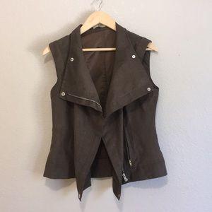 Olive green zip up vest worn different ways